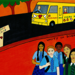 Children from diverse backgrounds in front of Harmony Day school bus