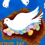 Together we can make a warm nest poster with dove sitting on brightly coloured eggs