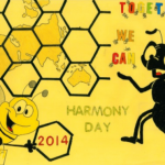Together we can poster showing happy bees with honeycombe covering a map of the world